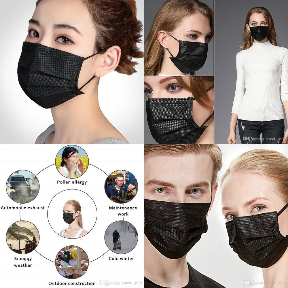 Trendy 3 2020 Maske Moda Yüz Siyah Tek Katman Koruyucu Anti Toz Pamuk Ağız Maskeleri Emniyet Çocuk Çocuk Yetişkin Shield Yüz Maskesi