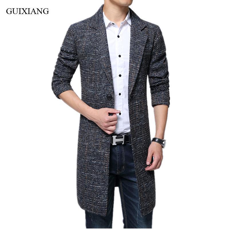 2020 Nueva llegada del estilo hombres del invierno Boutique Ocio abrigo de lana Business Casual larga capa de foso de lana vestido más el tamaño M-6XL