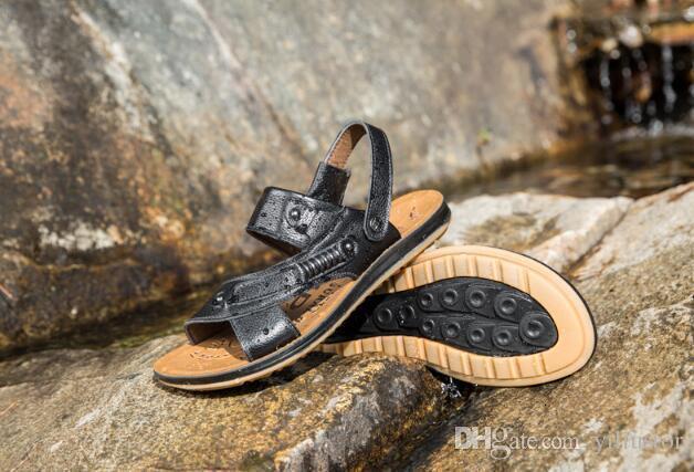 con caja de playa del verano Zapatos de cuero para hombre deslizadores de las sandalias de cuero primera capa de cuero del tendón tamaño de la marea deslizamiento US7-aj US9