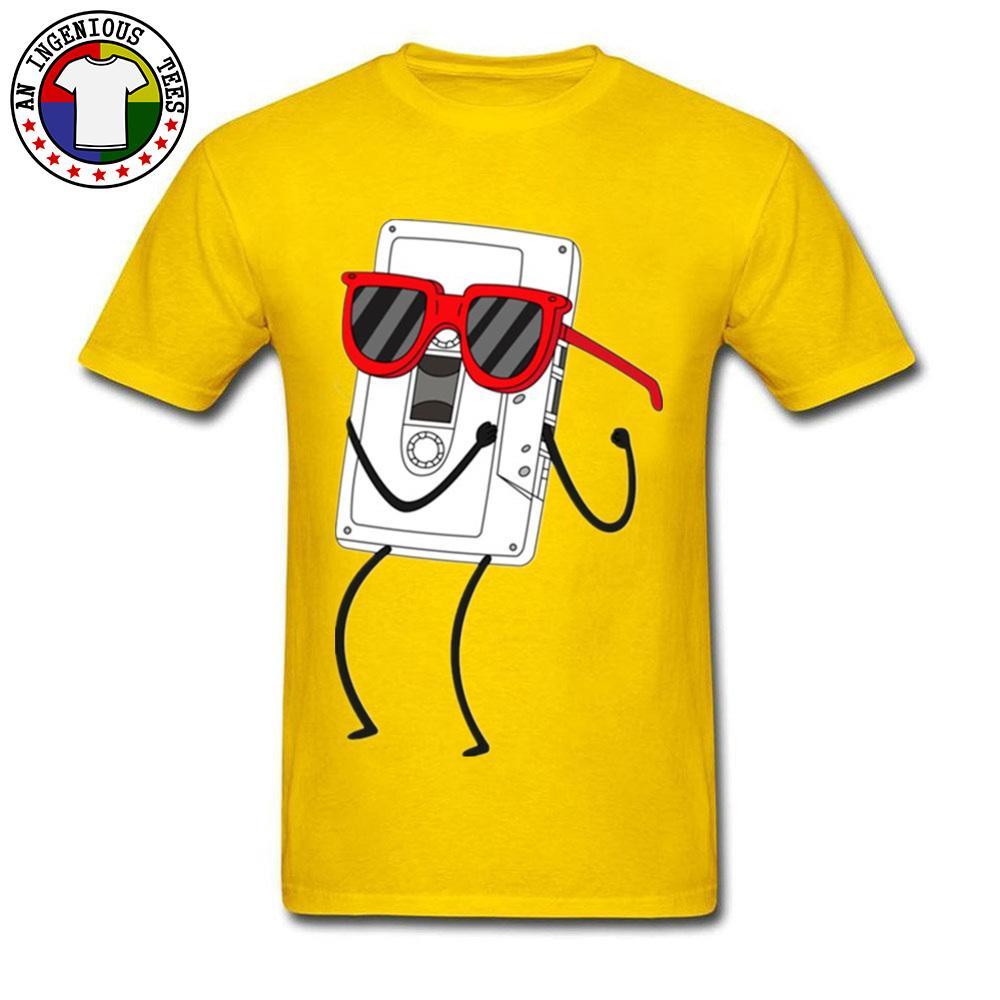 Cinta de moda divertido Hiphop Rock Rap danza camiseta de los hombres amarillo Tops Music camisetas de algodón con capucha completa Tela Juvenil Camisetas
