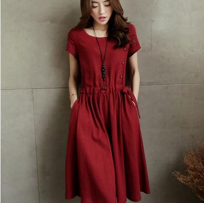 Pamuk ve yeni orta boy keten etek elbise Pamuk ve keten elbise yaz büyük boy kadın giyim popüler Fransız Yamamoto etek