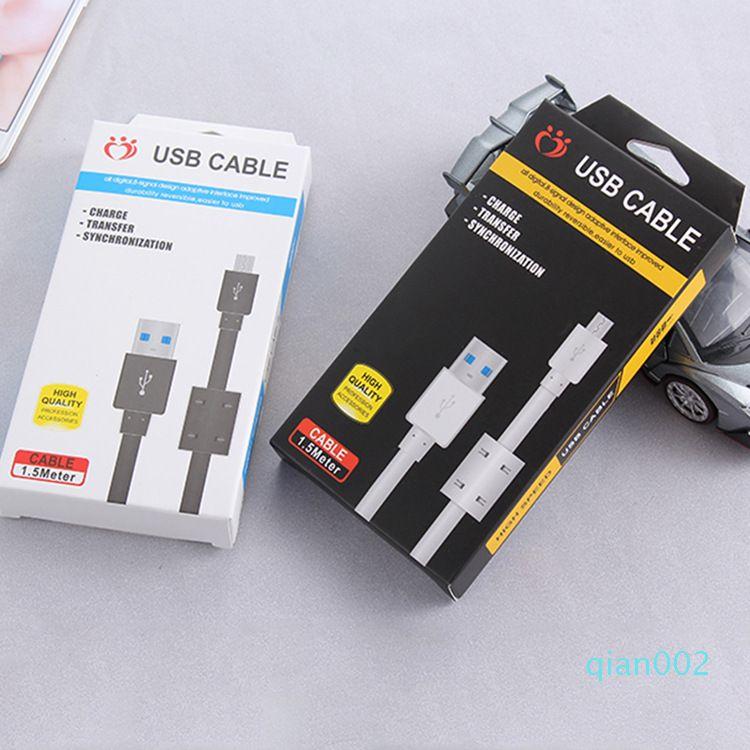 Carregamento rápido 1.5m 5 pés USB Data Sync Cable Cord Para Samsung Nota 10 Tipo C Android Micro V8 Carregador de Celular Cabos
