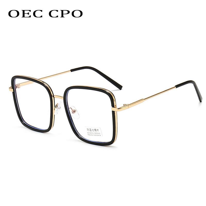 Clear CPO Metal Gafas ópticas ópticas Gafas de luz cuadradas Lente azul Moda Hombres anti Marco OEC Mujeres OP Eyeglases ópticos Marco PMGGL