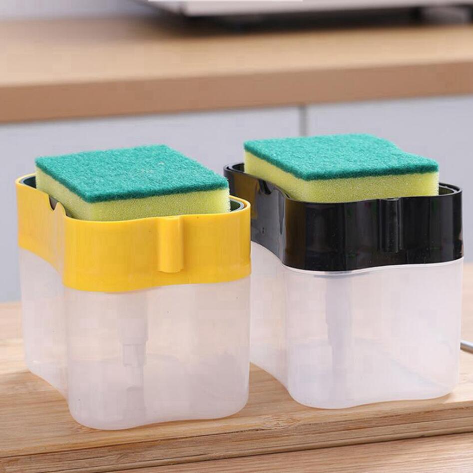 Кухня моющее средство для хранения Диспенсер Box Губка Мыльница Аксессуары жидкостный насос Штукатурки Pad Cleaning Tool Посудомоечное Seashipping LJJP458