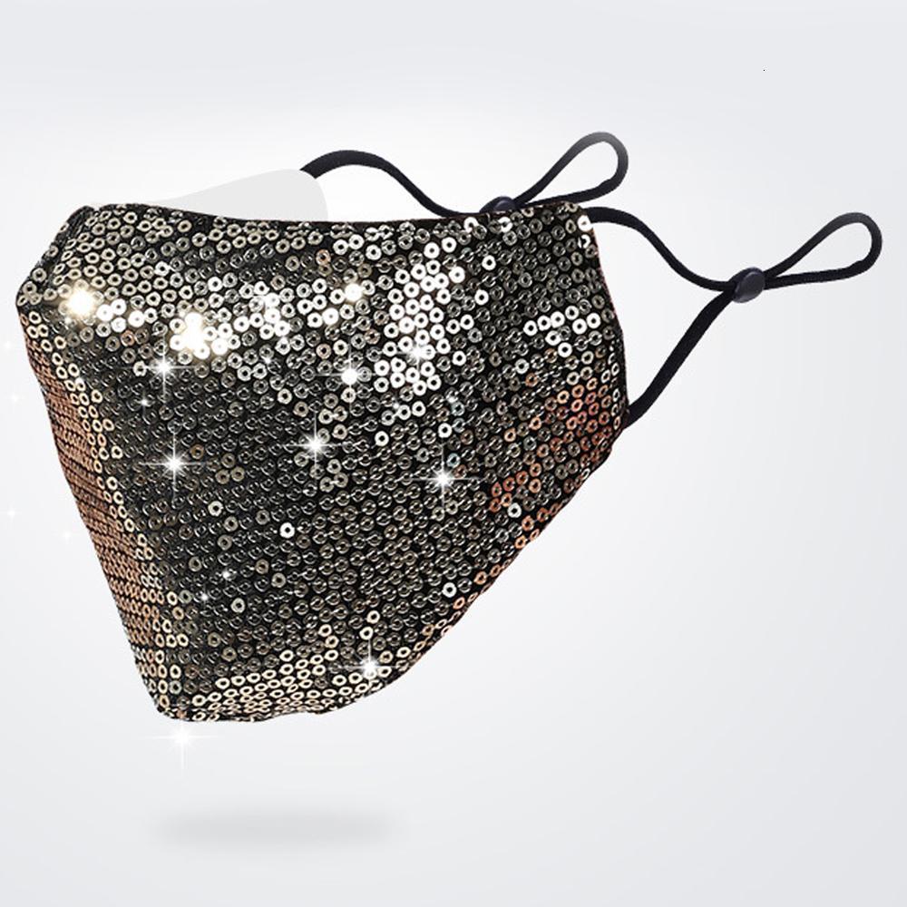 Lavable 3d bling mode réutilisable PM2,5 Soins pare-soleil de couleur d'or Coude Paillettes Brillant Visage Masques Masque de montage Couverture Sequin