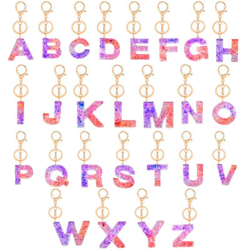A-Z lettera iniziale Portachiavi in acrilico della lettera di modo di scintillio resina anello ciondolo chiave dell'automobile coppia portachiavi a catena Charms Gift Bag Donne