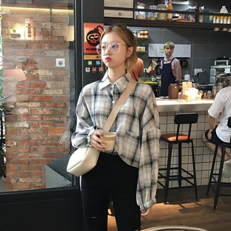 2020 printemps et en automne Nouveau style coréen mode Top chemise grande taille lanterne lâche manches longues manteau femmes chemise à carreaux manteau anti-usure h