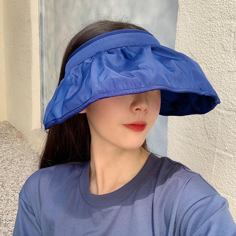 Лето новых женщин козырька шапка Складного Shell Шляпа Открытого Путешествие Повседневной Пляж Защита от солнца Empty Top Caps