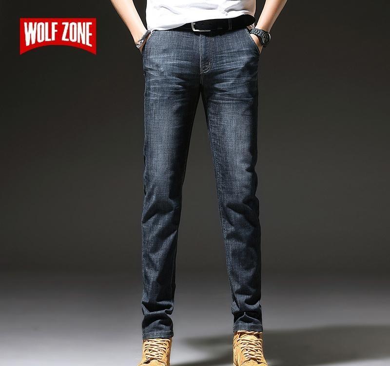 2020 Nouveaux Jeans Hommes Slim Casual Mid taille droite Jeans Hommes Classique mode Casual résistant à l'usure noir-bleu Pantalon