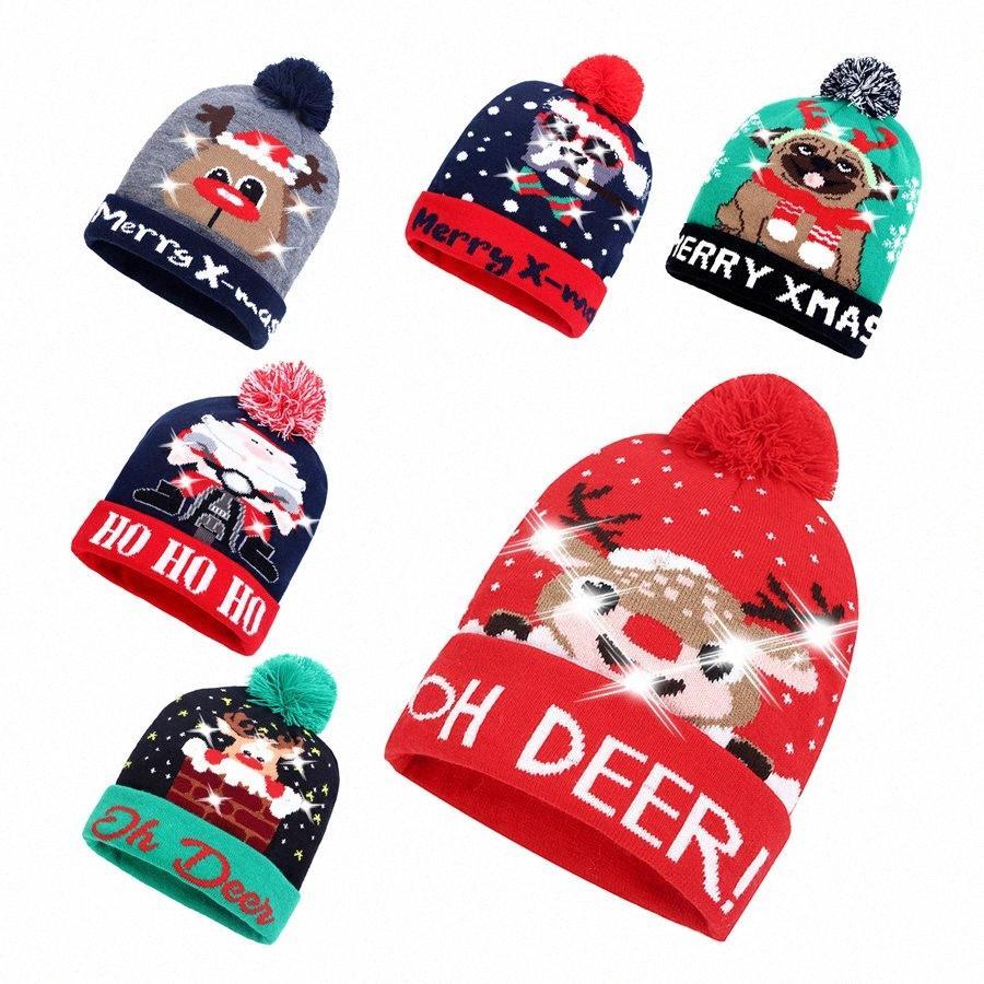 LED Noel Örgü Şapka Led Aydınlatma Pom Beanie Çocuk Yetişkin kar tanesi Noel Tığ Şapka Işıklar Örme Ball Cap Parti RRA2475 3n84 # Favor