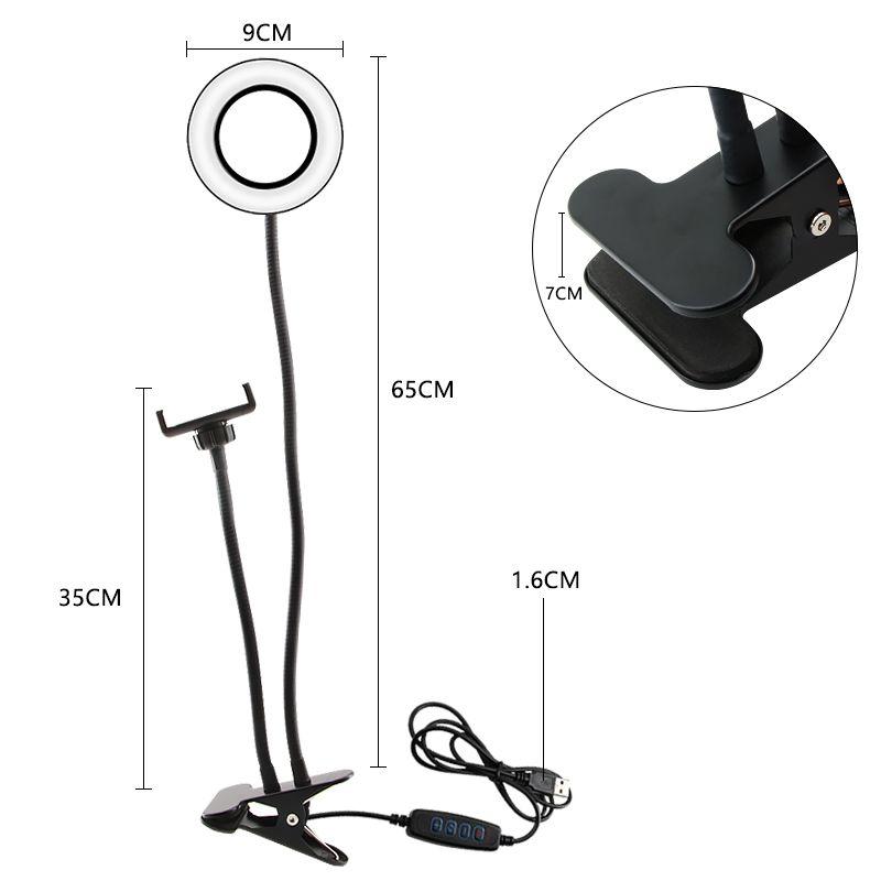New LED Vídeo selfie Anel de luz 3 LED Modos de luz de preenchimento longos braços desktop selfie Luz com suporte de telefone para Makeup Fotografia