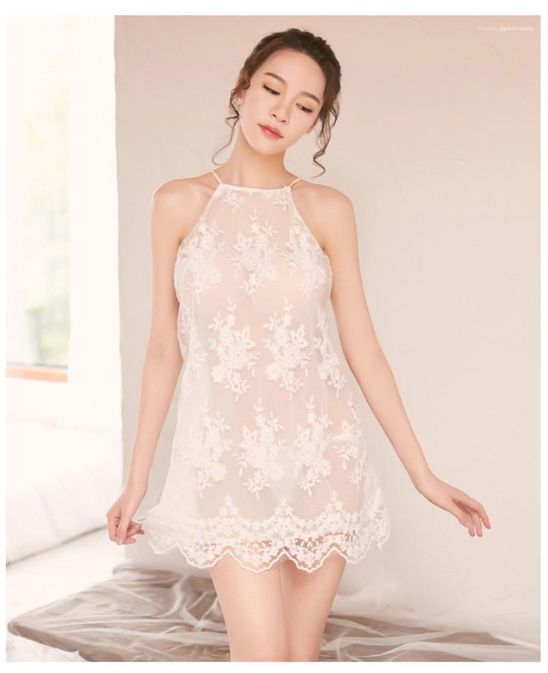 Sin respaldo cordón de las señoras de la ropa interior 2020 de las nuevas mujeres diseñador pijamas atractivos del verano camiseta atractiva perspectiva del camisón de la moda