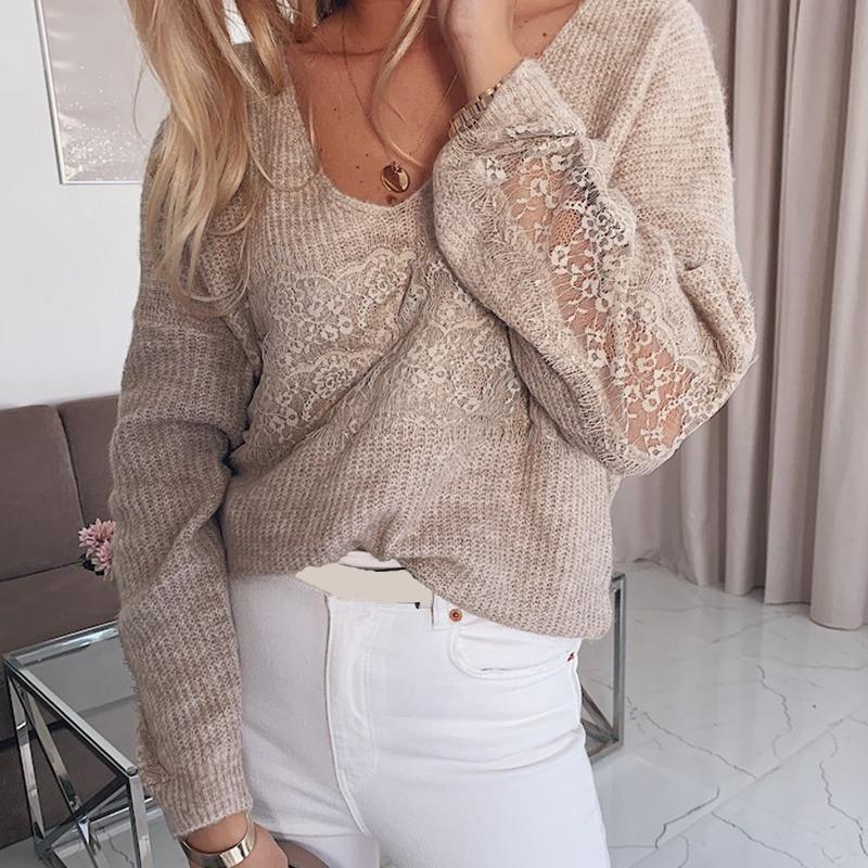 Einfacher V-Ausschnitt Pullover Frauen-Winter 2020 Herbst Jumper gestrickte Kleidung Mode Lace Stitching Elegante Pullover weiblich Verkauf