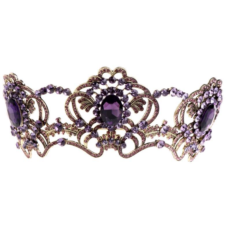 Vintage Düğün Gelin Rhinestone Kafa Kraliçe Taç Tiara Saç Aksesuarları