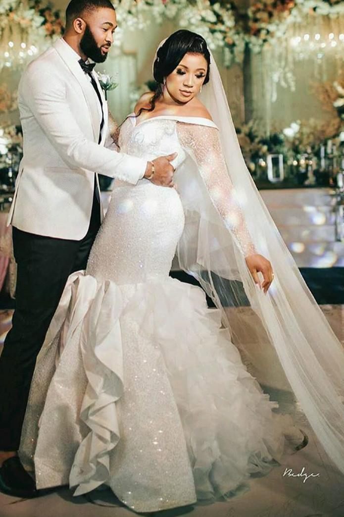 2020 Плюс Размер Arabic Асо EBI Sexy Sparkly Русалка Свадебные платья Кристаллы с длинными рукавами Свадебные платья Свадебные платья Sequined ZJ055