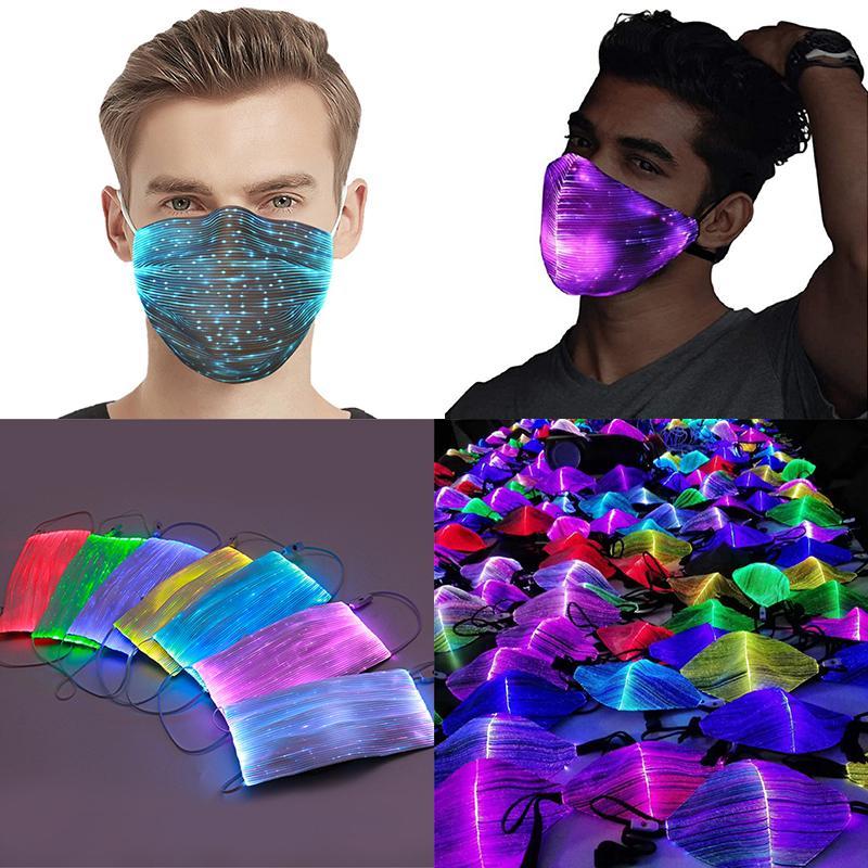 Halloween-Leuchtmaske mit PM2.5 Filter 7 Farben glühende LED-Gesichtsmasken für Weihnachtsparteifestival Maskerade Rave Mask