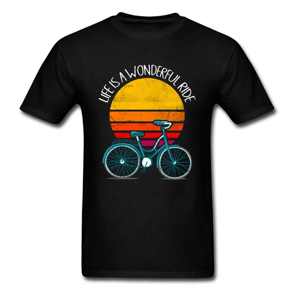 Life Is A Wonderful Ride T Shirt Moto Biker T-Shirt Men Cool Vintage Design Bicycle Tshirts Hip Hop Tops Tees Cotton Clothes