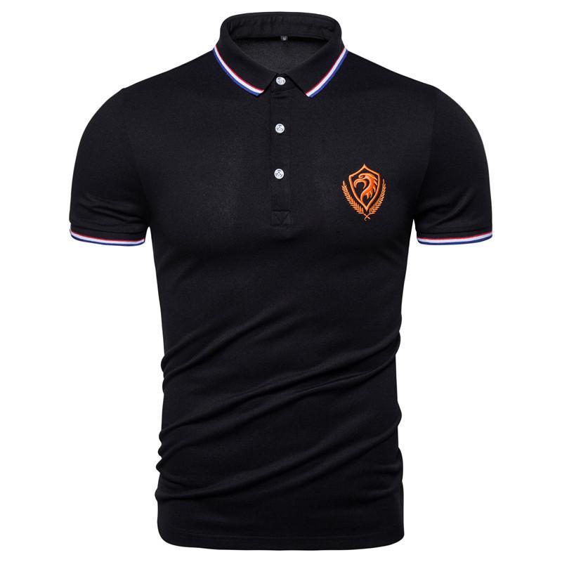 Лето Хлопок рубашки поло мужчин Лучшие качества Бизнес Социальные Мужчины Polos с коротким рукавом Eagle вышивка Спортивные мужские поло