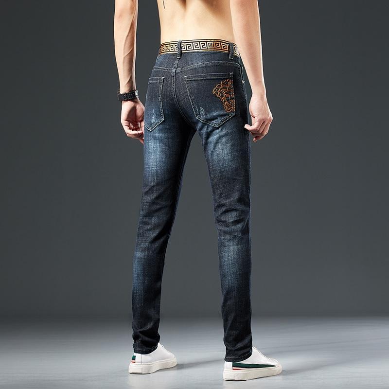 0g69n G4mPE magros ocasionais calças de brim e calças juventude negra High-end trecho estilo coreano moda calças de brim dos homens calça casual