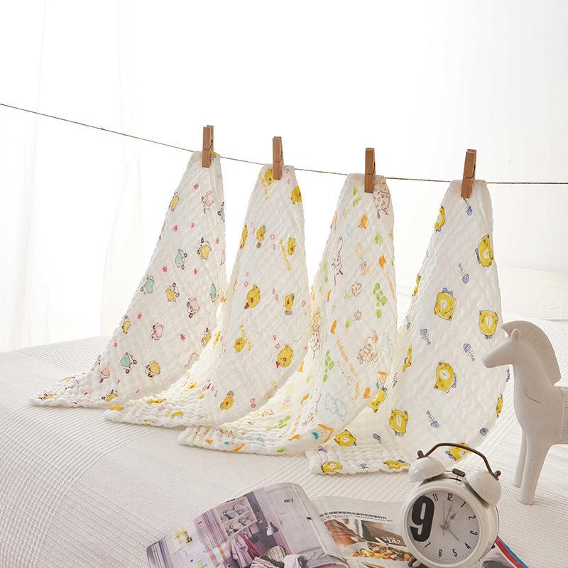 Six fils de couche imprimée serviette enfants petite serviette carré 4 pièces de bébé fils peignés pour bébé de soins doux bébé wrap