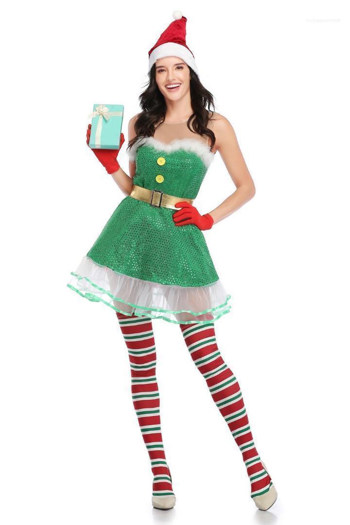 Desinger de Navidad cosplay invierno del calcetín vestidos sin tirantes estilo lindo tema del traje Festival para mujer Ropa Mujer atractiva de la ropa