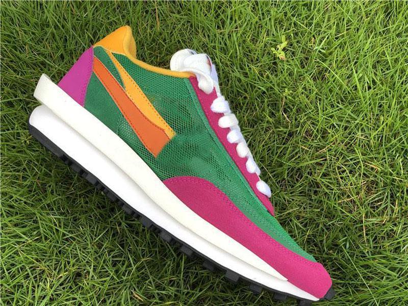En Otantik Sacai LDWaffle Daybreak Çam Yeşil Erkekler Kadınlar Yeşil Gusto Siyah Antrasit Spor Sneakers BV0073-301 ile Kutu Koşu Ayakkabıları x
