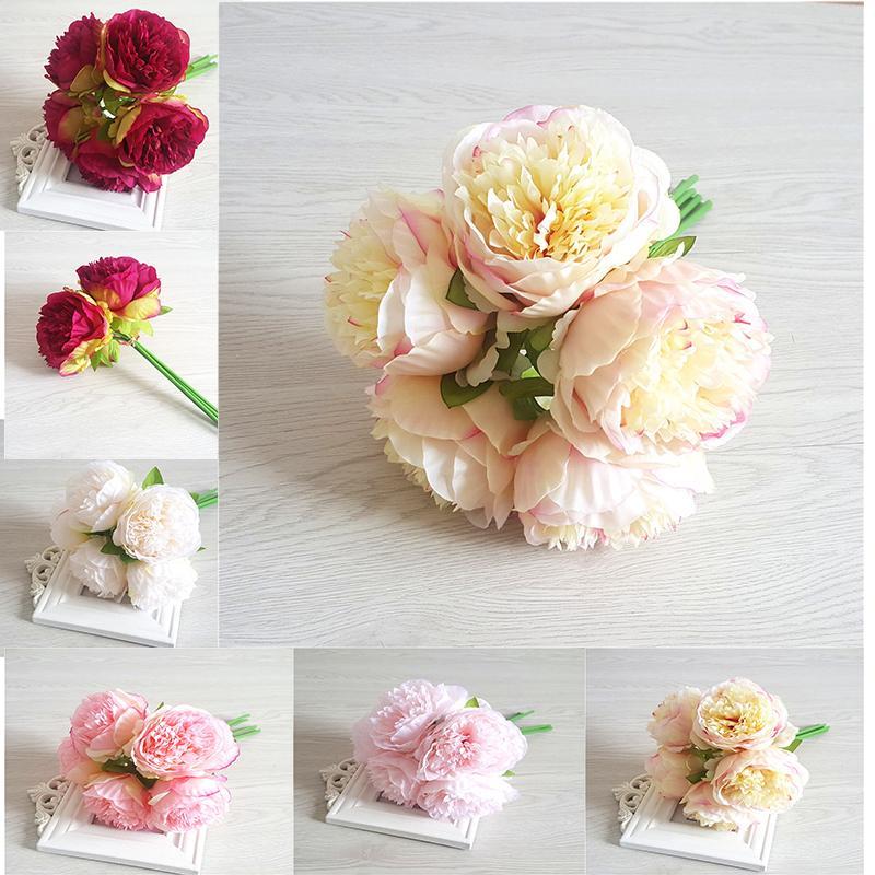 5pcs Kunstseide blüht königliche Peon Hands Holding Silk Flower Brautbrautjunfer Blumenstrauß Latex Real Touch Hochzeit Decor