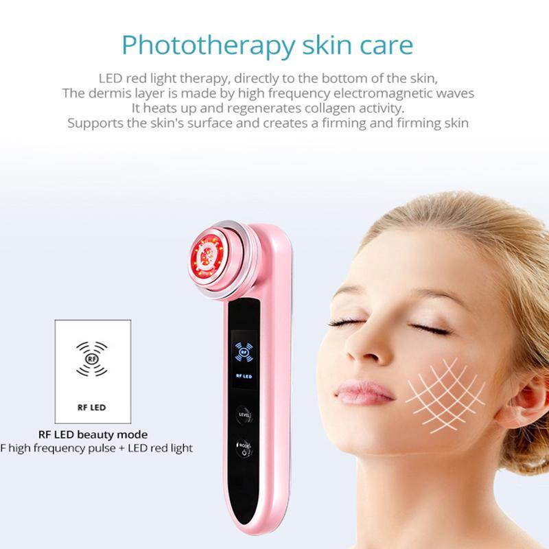 RF Photon Terapia levantamento Facial Cuidados com a pele de elevação RF beleza instrumento firmando luz importação ion importação exportação beleza massagem azul vermelho
