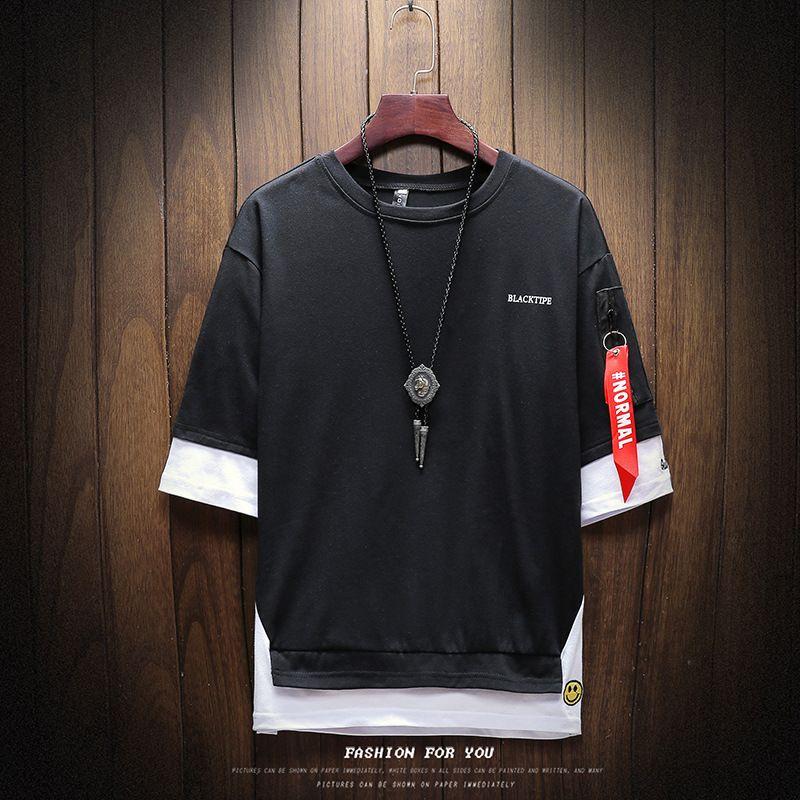 2020 Men T-shirts Summer Short Sleeve Shirts Simple Design Solid Color Shirts for Men Korean Style Fashion Oversize Mens