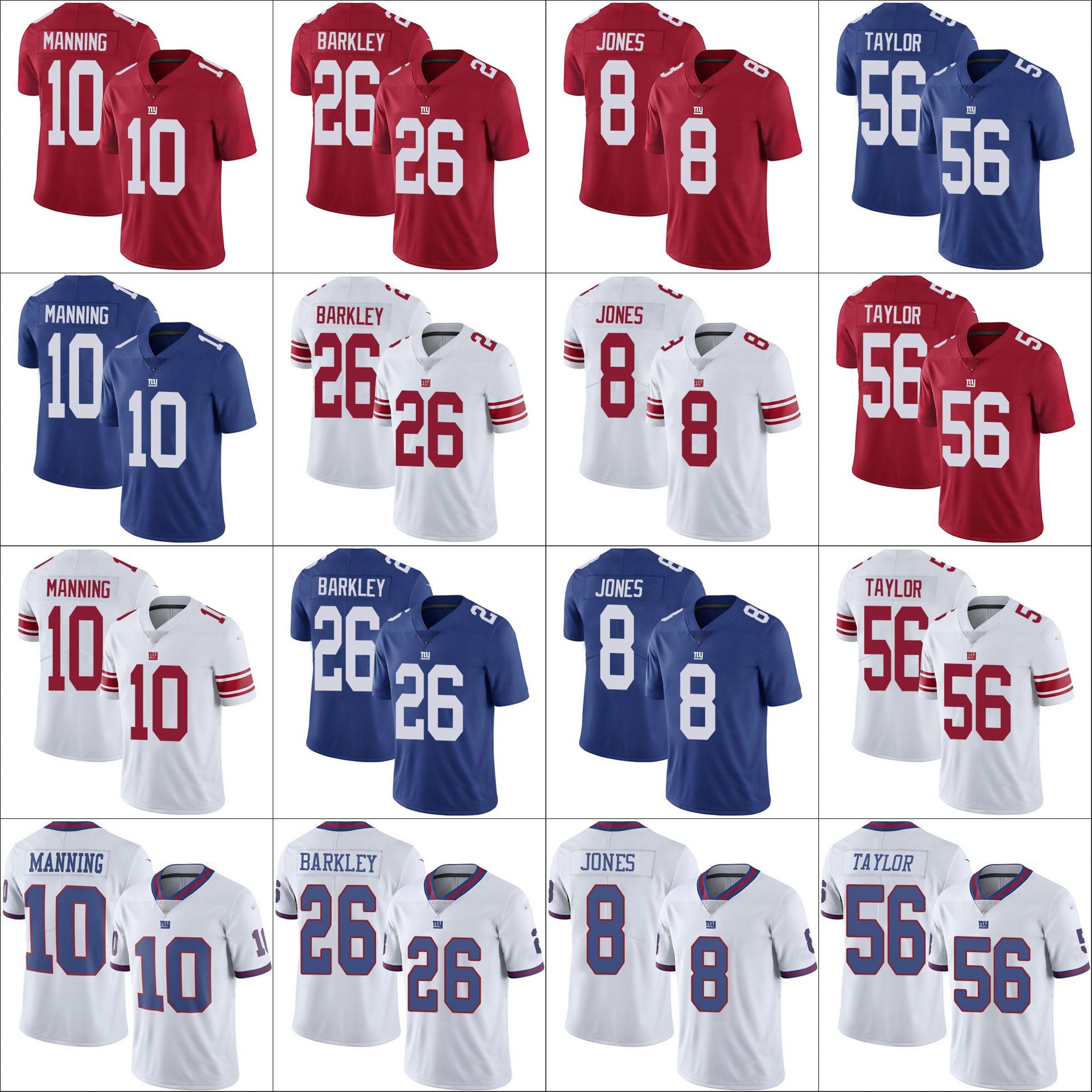 Nova yorkGiantsMen # 10 Eli Manning 26 Saquon Barkley 8 Daniel Jones 56 Lawrence Taylor Mulheres JovensNFL Football Jersey