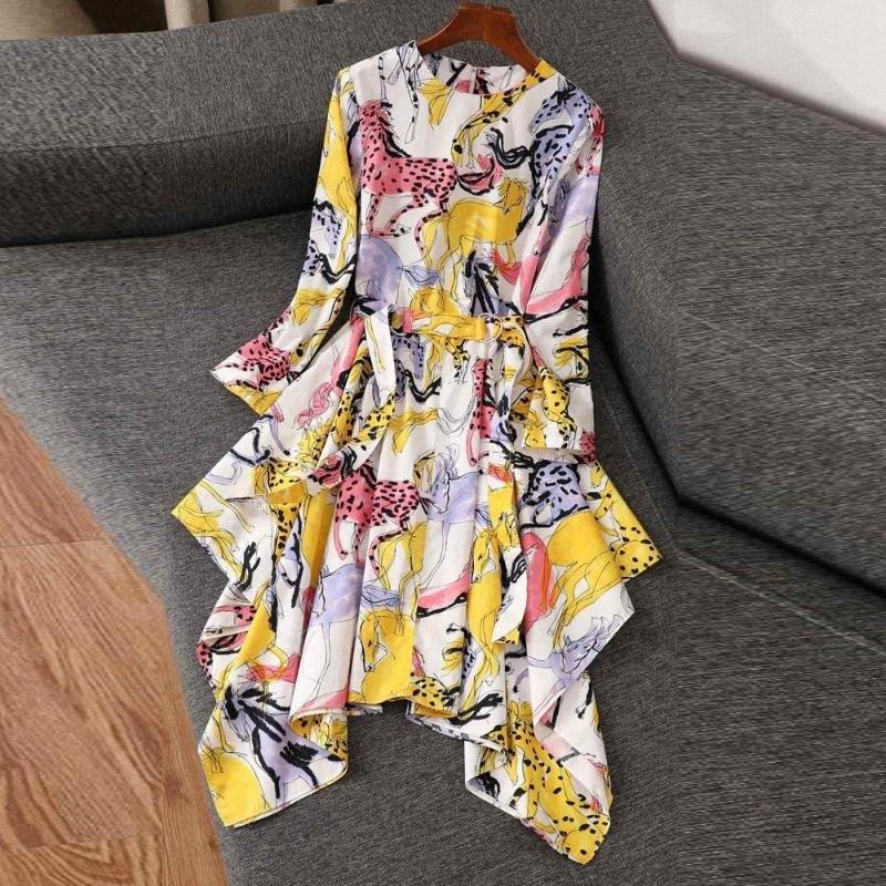 Designer-Frauen-Sommer 2020 Blumendruck-langärmliges Baumwollkleid Ferien Unregelmäßige Kleider Weiblich Vestidos Robe XWND #