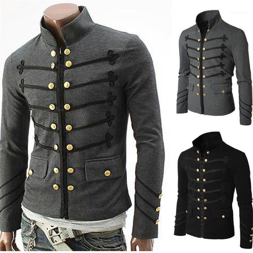 Vintage Erkekler Gotik Ceket Steampunk Katı Kaya Üniforma Punk Metal Askeri Man Coat Casual Tasarımcı Erkek Dış Giyim