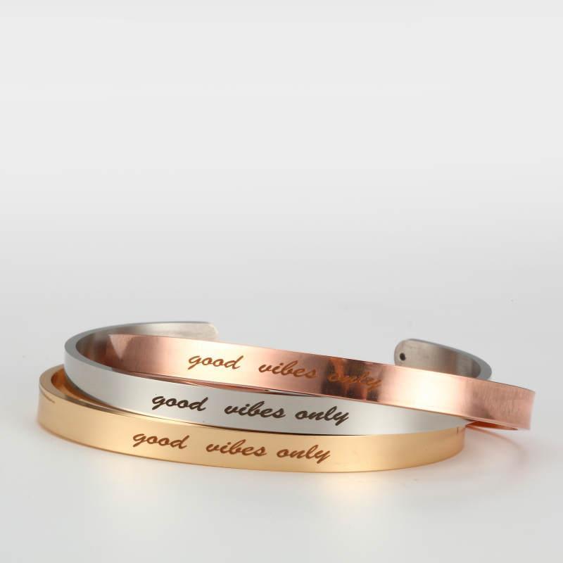 3шт New Good Vibes только из нержавеющей стали 316L браслет Positive Вдохновенный Quote манжета браслеты Mantra браслеты для женщин