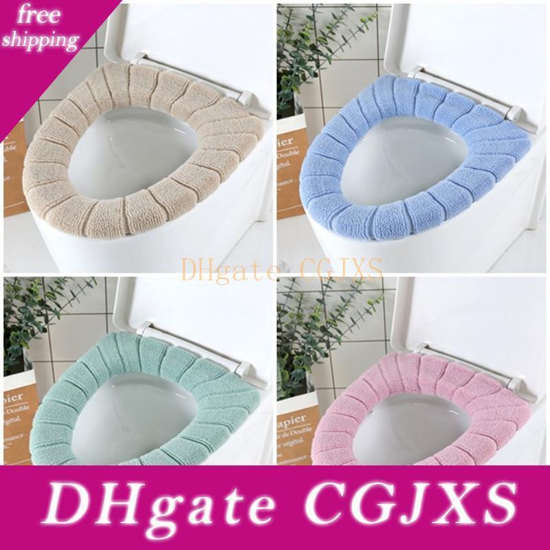 4 colores Cubiertas WC cómodo Coral de asiento de inodoro cubierta Calificado alfombras de baño cubierta de la estera de baño WC caliente