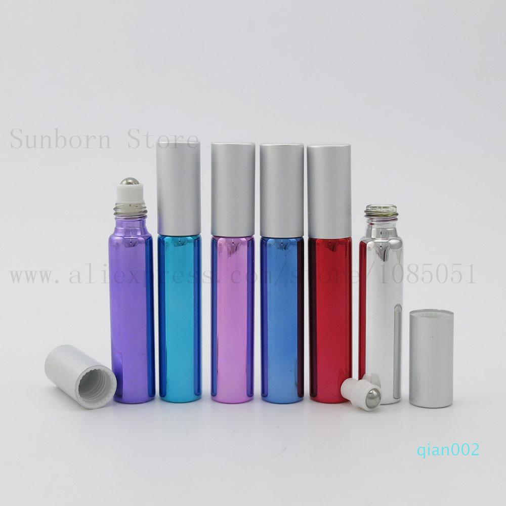 500pcs 10ml Metal Roller Bottle For Essential Oils With Five Colors UV Roll-on Glass Bottles e liquid bottle tube