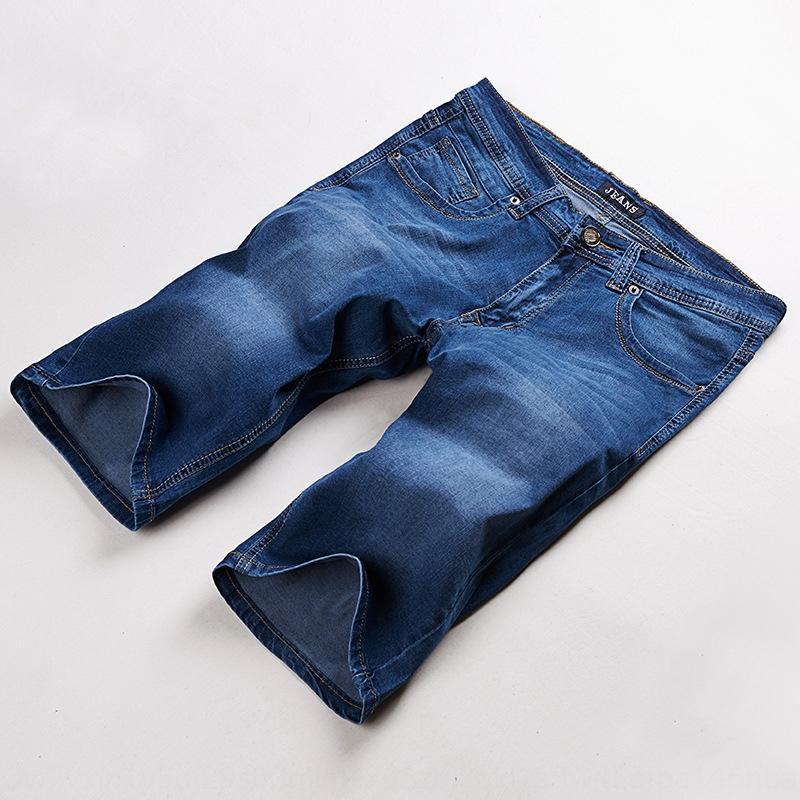 VAx3K DMS9812 стрейч джинсовые шорты мужские большого размера мужские брюки середины талии модные жира шорты и брюки и брюки Капри 34-48