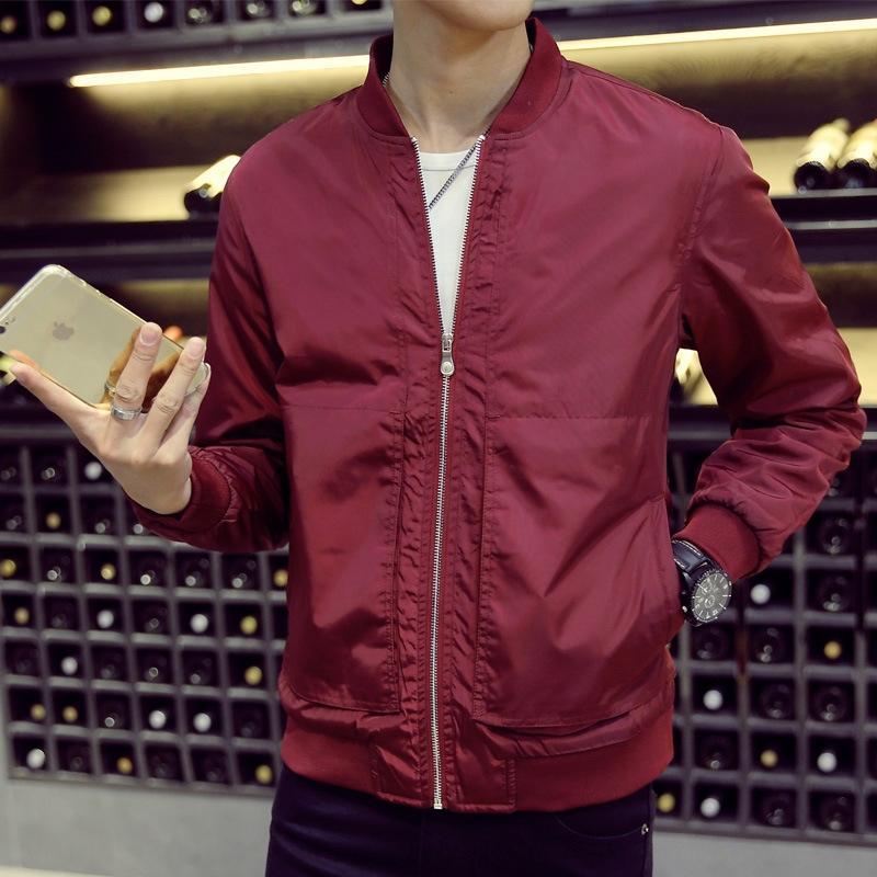 w3p7u gençlik beyzbol ceket ince erkek yaka giyim ceket Kore tarzı Sonbahar aşınma Coat gündelik ince günlük kıyafet