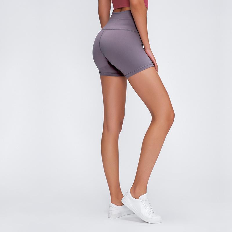 Отпечатки Высокая талия Фитнес тренировки шорты Женщины Голые на ощупь ткань Обычная Squatproof Йога Trainning Спортивные шорты