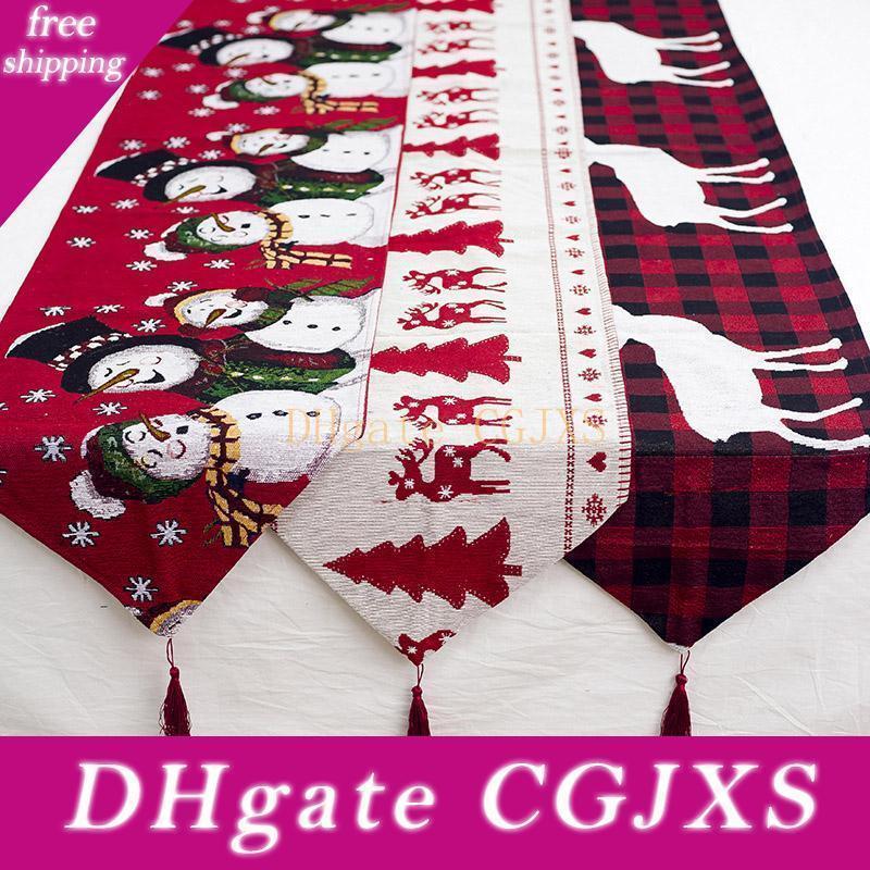 180 * 35cm Noel Süsleri Tablecloth Pamuk Keten Nakış Noel Masa Bayrağı Noel Partisi Tablo Masaüstü Noel Wx9 Malzemeleri -171
