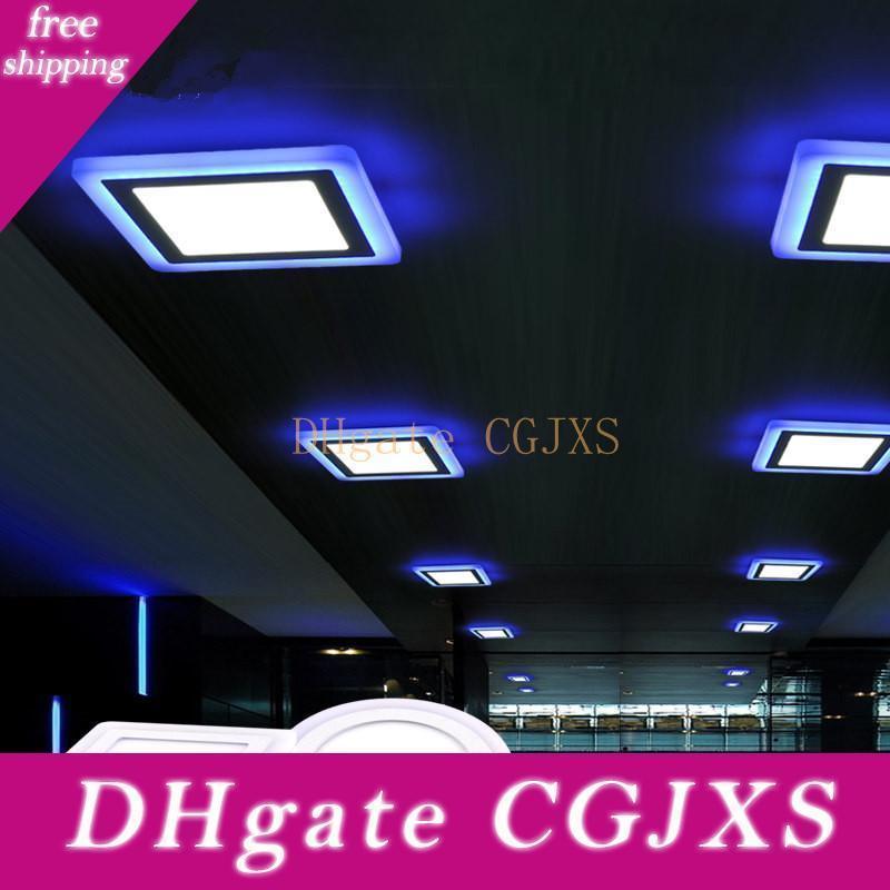 Led Sıva 6w 9w 16w 24w 3 Modlar Aydınlatma Led Panel Işık Yuvarlak Kare Akrilik Mavi + Serin / Beyaz Led Gömme Tavan Lambası AC85 Isınma -265