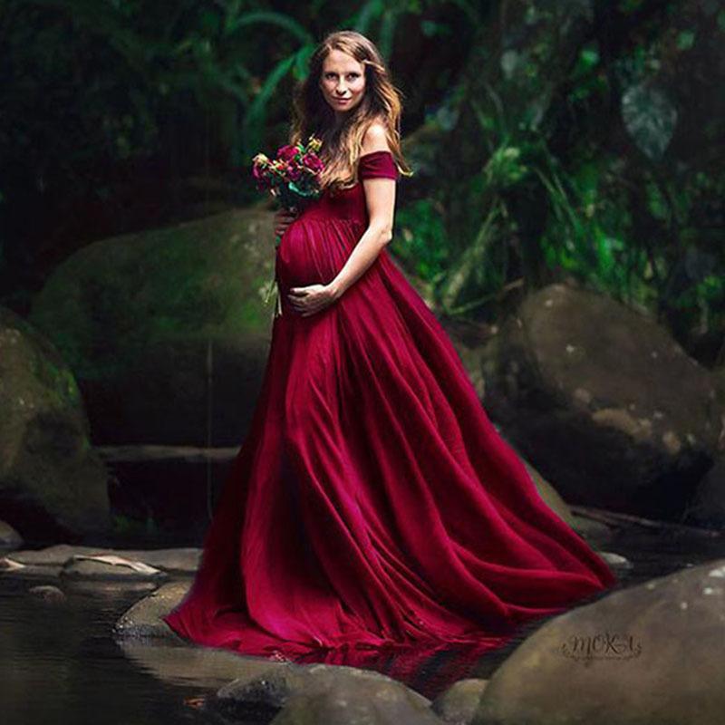 Fotoğraf Çekim Seksi V Yaka Off Omuz Hamilelik Fotoğraf Elbise Hamile Kadınlar Partisi Maxi Elbise için şık Annelik Elbiseler