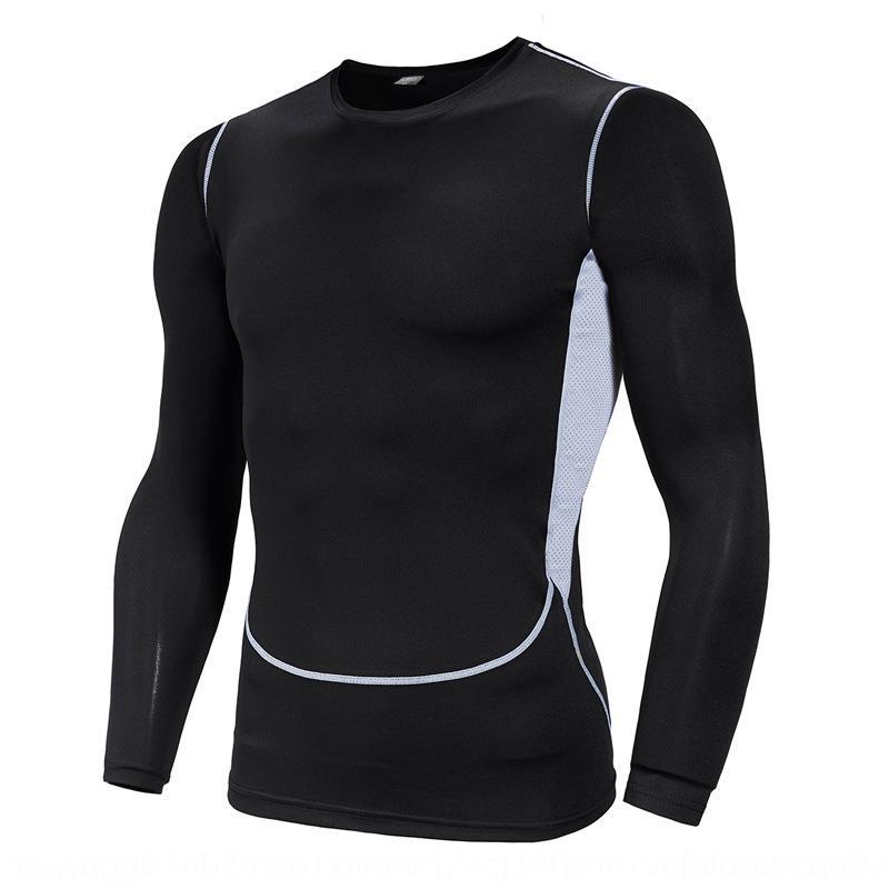 ropa de deporte 2019 de los nuevos hombres de secado rápido tamaño extra grande de secado rápido de la manga larga delgada de la aptitud del ejercicio ejercicio físico deportivo camiseta f