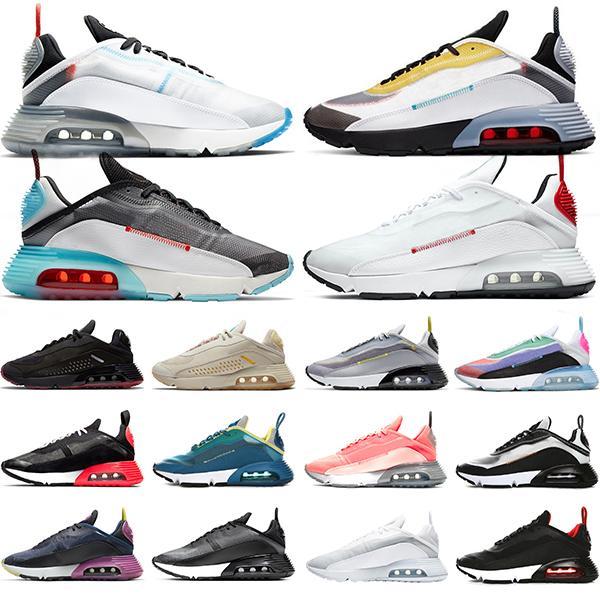 Nike Air Max 2090 الاحذية رجل إمرأة حذاء رياضة النقي البلاتين يكون صحيحا الصهارة أورانج فوتون الغبار ولدت الثلاثي أسود أبيض ديس Chaussures المدرب الرياضي