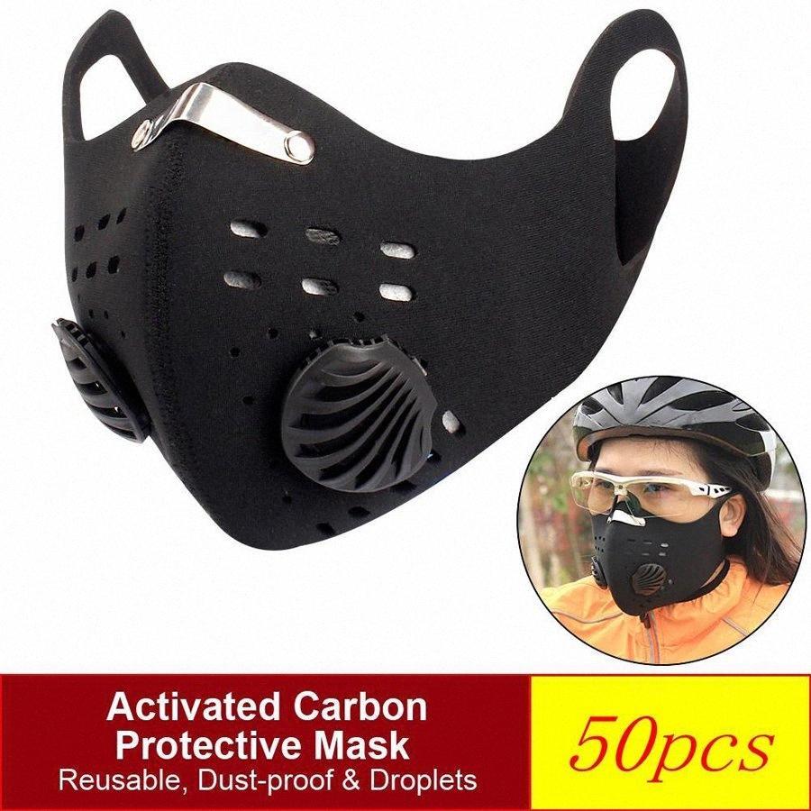 Aktive Bisiklet Koruyucu PM2.5 Karşıtı Kirlilik Toz Spor Eğitim Yol Bisikleti Yeniden kullanılabilir zaFl # Maske Running With Maskeler Karbon Yüz Toptan