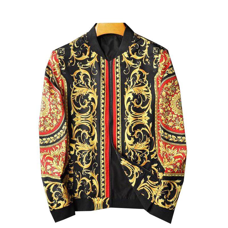 Europäische und amerikanische Männer-Kleidung 2020 neuen Art des Herbstes Langärmelig Reißverschluss Gericht Retro drucken Mantel Mode