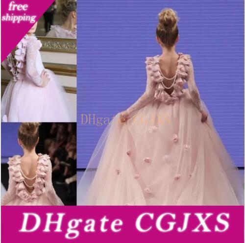 Kız Yarışması Önlük Teens For Dantel Aplikler Uzun Kollu komünyon Elbise Prenses Balo Parti Elbise Pembe Çiçek Kız Düğünler İçin Elbiseler