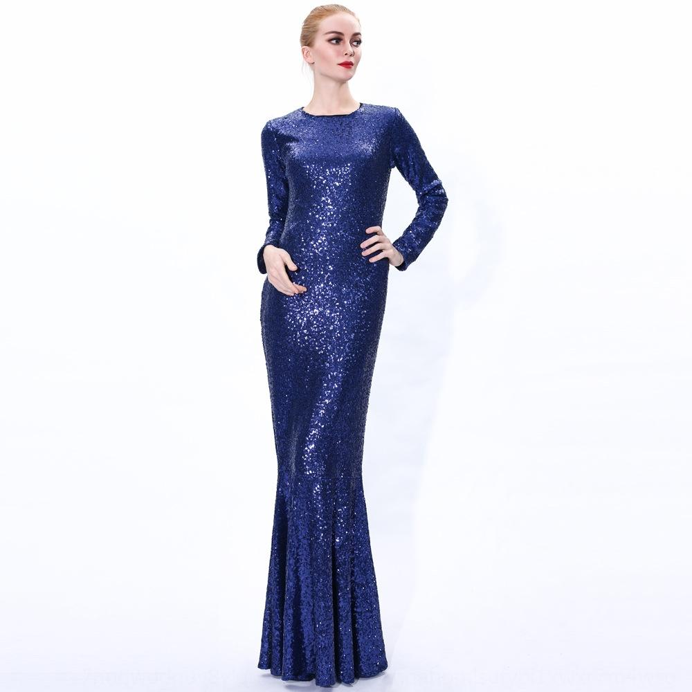 2020 lantejoulas Ramadan vestido rabo de peixe saia Sequins fishtail saia árabe fino muçulmana abaya c1nYQ