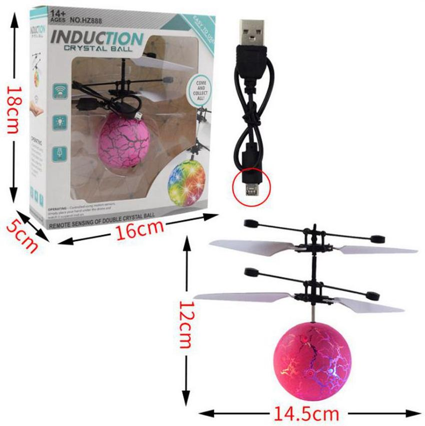 Fliegen-Kugel-Spielzeug RC Fliegen-Kugel LED-Beleuchtung Blinklicht Flugzeug-Hubschrauber-Induktions-Spielzeug Elektronische Kinder Spielzeug Geschenke-Party-Bevorzugung KKA8020