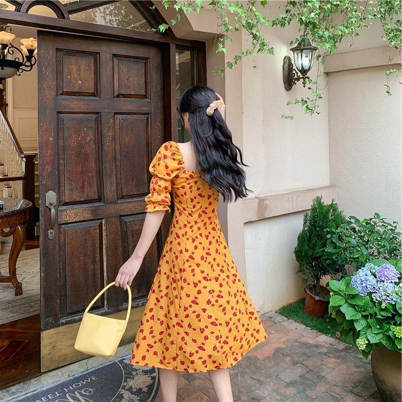Mousseline de soie bulle florale A LINE longue jupe longue robe mi-longueur manches jupe pour les femmes 2020 d'été nouvelles françaises élégantes DREs de ligne A taille haute