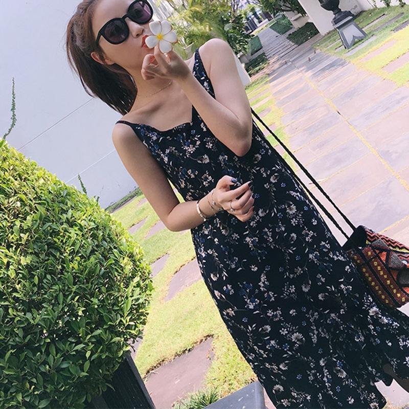 YY9ct 2020 Корейского стиль свободного похудение рукава жилета высокой талии большой средней длиной битник юбка подвеска строп строп юбка цветочным суспендируют